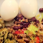 Kvelds: Egg, Tunfisk, Blåskjell, Salat