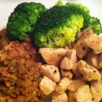 Middag: Kyllingbryst, Linsemos, Brokkoli