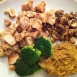 Middag: Kyllingbryst, Sjampinjong, Brokkoli, Linsemos